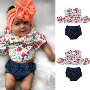 5⭐ 2pc cold shoulder floral denim summer outfit